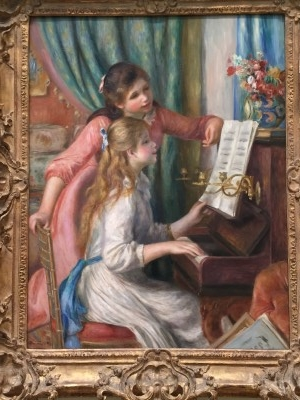 So I chose this to show because we had a cheap reproduction above our piano in my childhood home. This is Two Young Girls at the Piano (oil on canvas), 1892, by Auguste Renoir (photo by me).