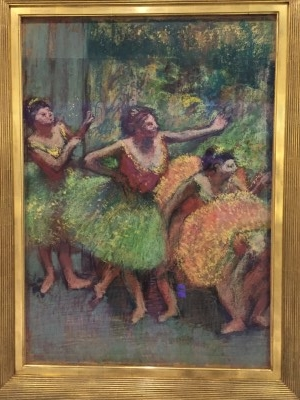 Dancers with Green and Yellow (pastel and charcoal on several pieces of tracing paper, mounted to paperboard), 1903, by Edgar Degas.