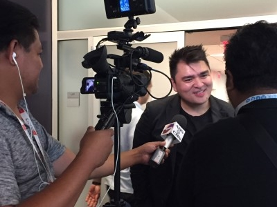Jose Antonio Vargas being interviewed after his keynote address.