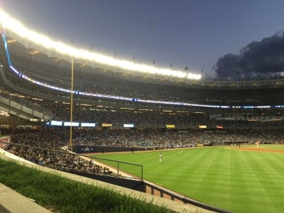 Yankee Stadium all lit up.