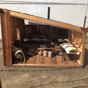 A miniature bunkhouse in a local internment camp.