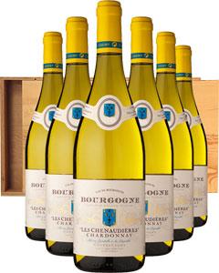 Bourgogne Chardonnay 'Les Chenaudières' Six Bottle Wine Gift in Wood 6 x 75cl Bottles