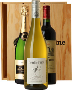 The Classic French Three Bottle Wine Gift in Wood 3 x 75cl Bottles