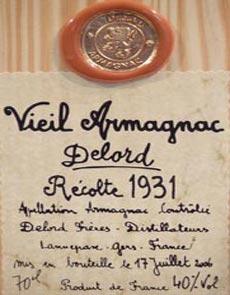 1931 Delord Freres Bas Armagnac 1931 (70cl)