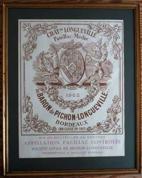 1962 Chateau Pichon Longueville Framed 1962 Very Large Reproduction label