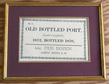 Framed 1872 Gould Campbell Port Advert