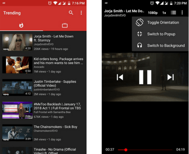 play YouTube in android background