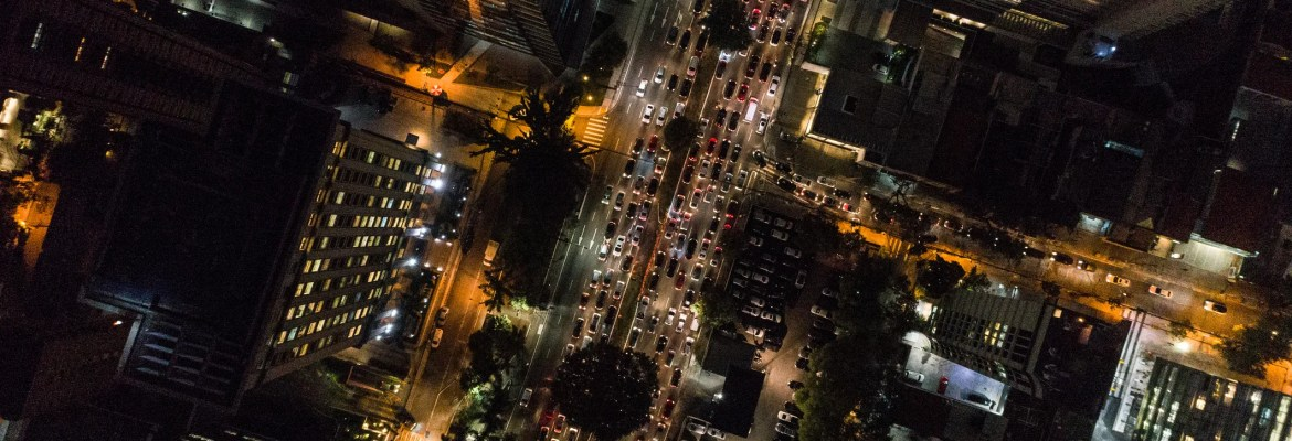 drone footage at night over people aerial FAA