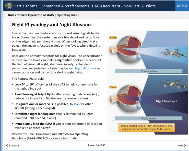 night physiology and night illusions Remote Pilot recurrent online training drone FAA
