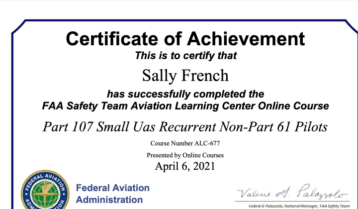 Sally French Certificate of Achievement Part 107 Small UAS Recurrent Non Part 61 Pilots
