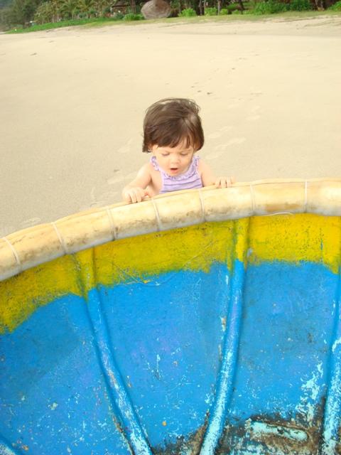 Miss M on her first birthday on the beach on Con Dau Island