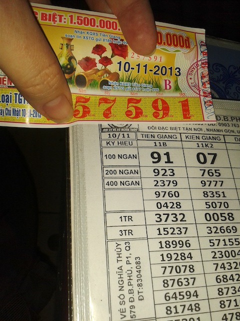 Vietnamese lottery ticket