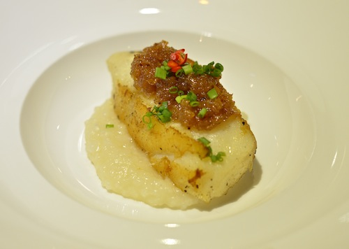 Roast Chilean sea bass with chai poh confit and congee