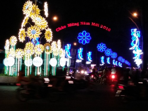 New Year lights in downtown Ho Chi Minh City