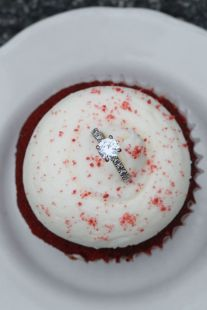 Red Velvet Cupcake with Ring