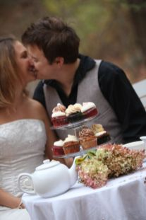Wedding Cupcakes with Bride and Groom