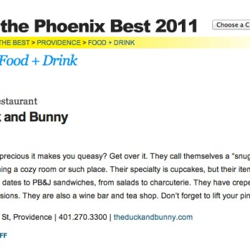 Providence Poenix Best of 2011