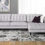 Contemporary Tufted Sofa With Oversized Chaise In Light Grey