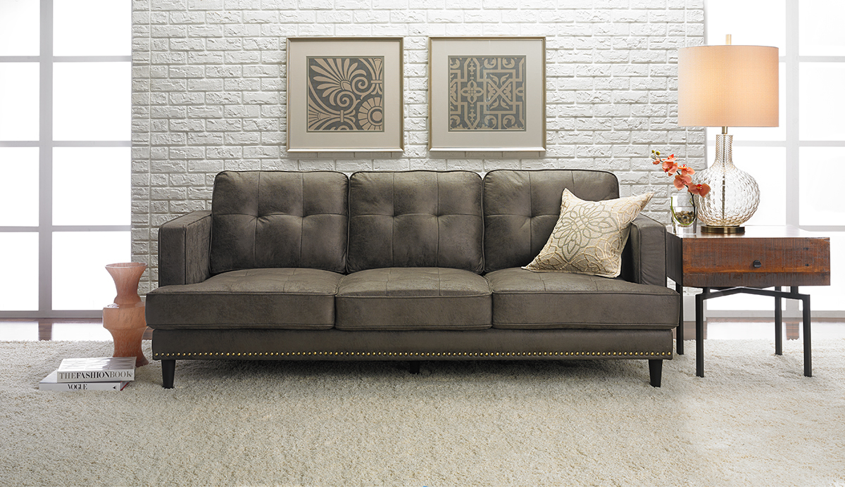 Jax Hand Tufted Mid Century Microfiber Sofa The Dump Luxe Furniture Outlet