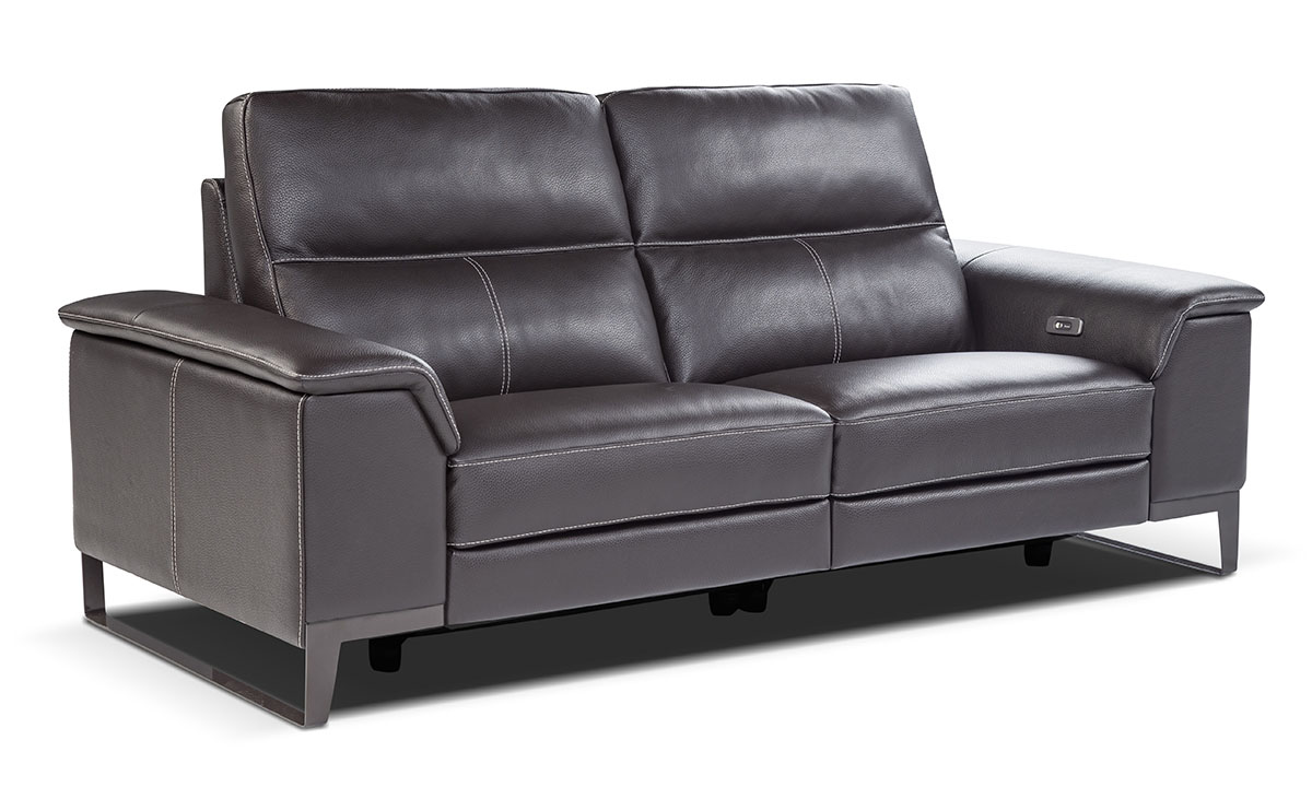 Nicoletti Ruben Grey Power Reclining Leather Sofa The Dump Luxe Furniture Outlet