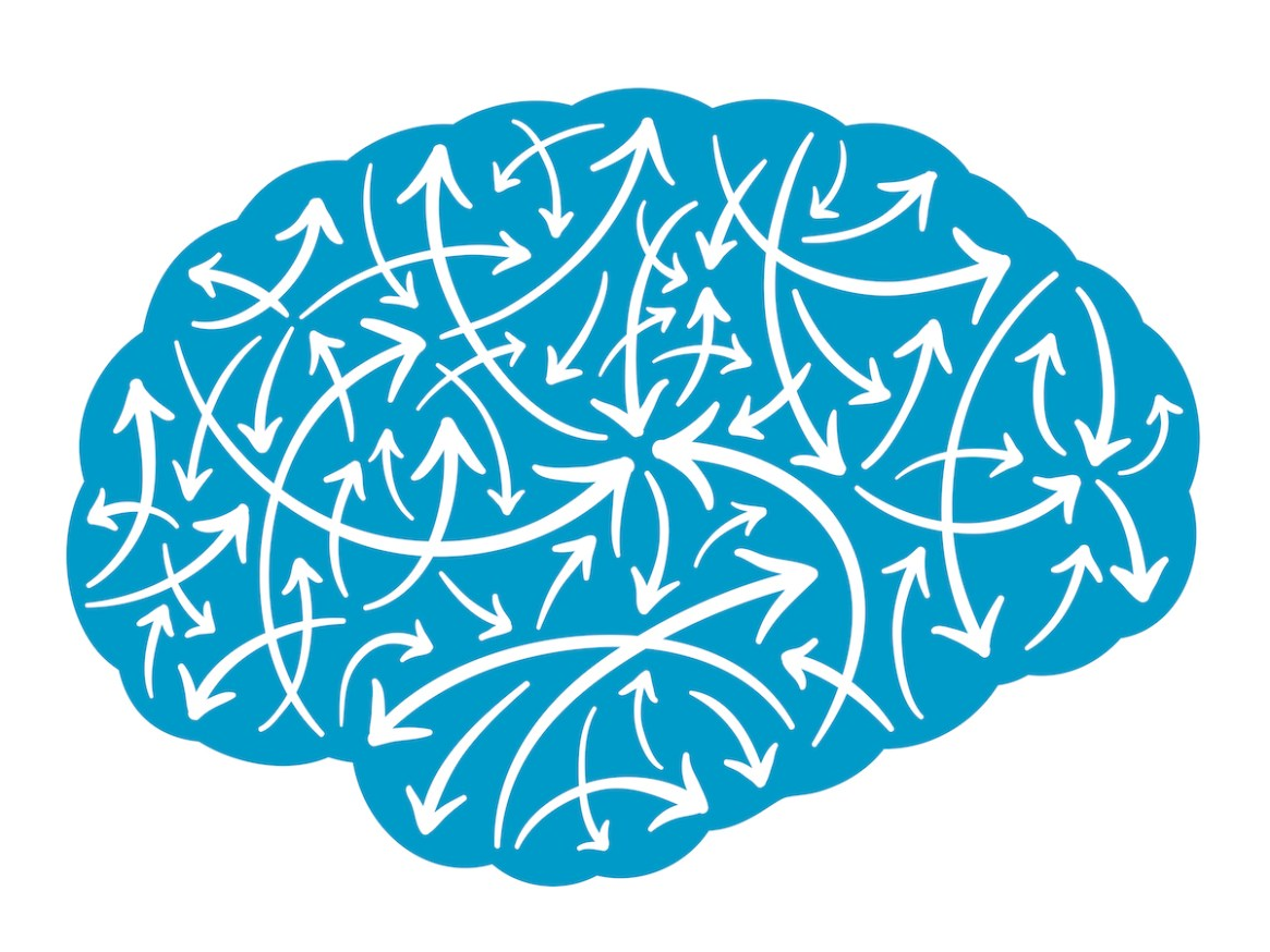 Vector illustration of the silhouette of a human brain filled with multidirectional arrows pointing haphazardly in random directions depicting mental activity, energy and intelligence