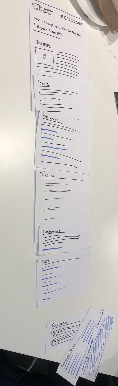 wireframing a page on paper