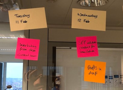 Content process planning with post-its