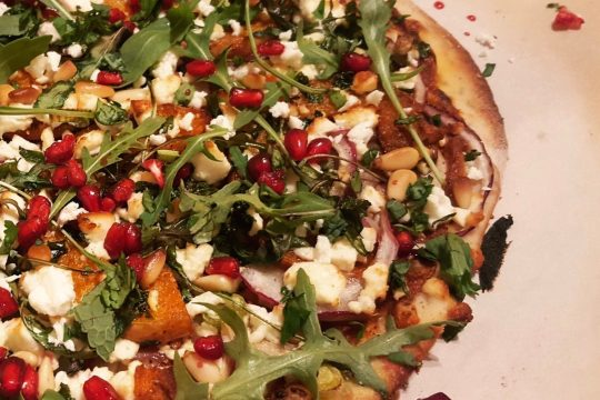 Moroccan pizza with butternut harissa and feta