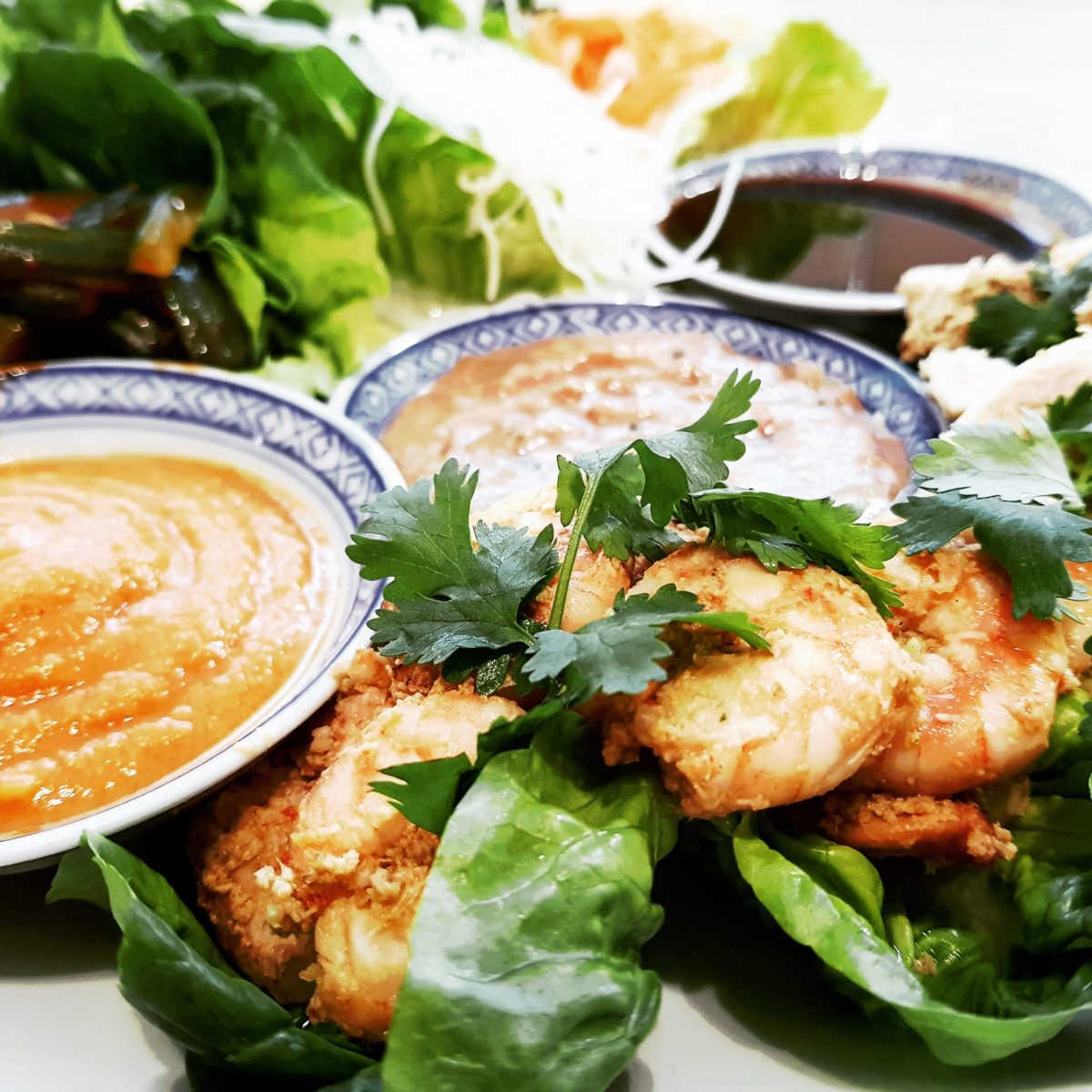 Asian low carb lettuce wraps with dipping sauces