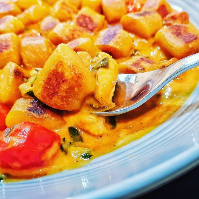 Pumpkin gnocchi bouillabaise chorizo mussels