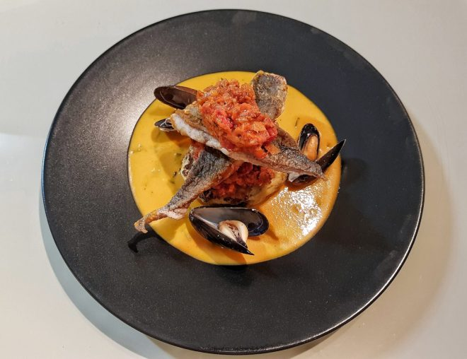 Sea bream bouillabaise sauce chorizo salsa