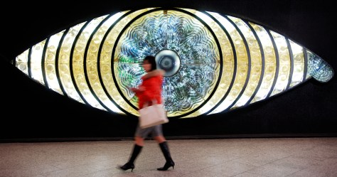 Japan, Tokyo, Shinjuku Woman In Front Of Art Installation, Shinjuku Station 2007 (Mark Hemmings)