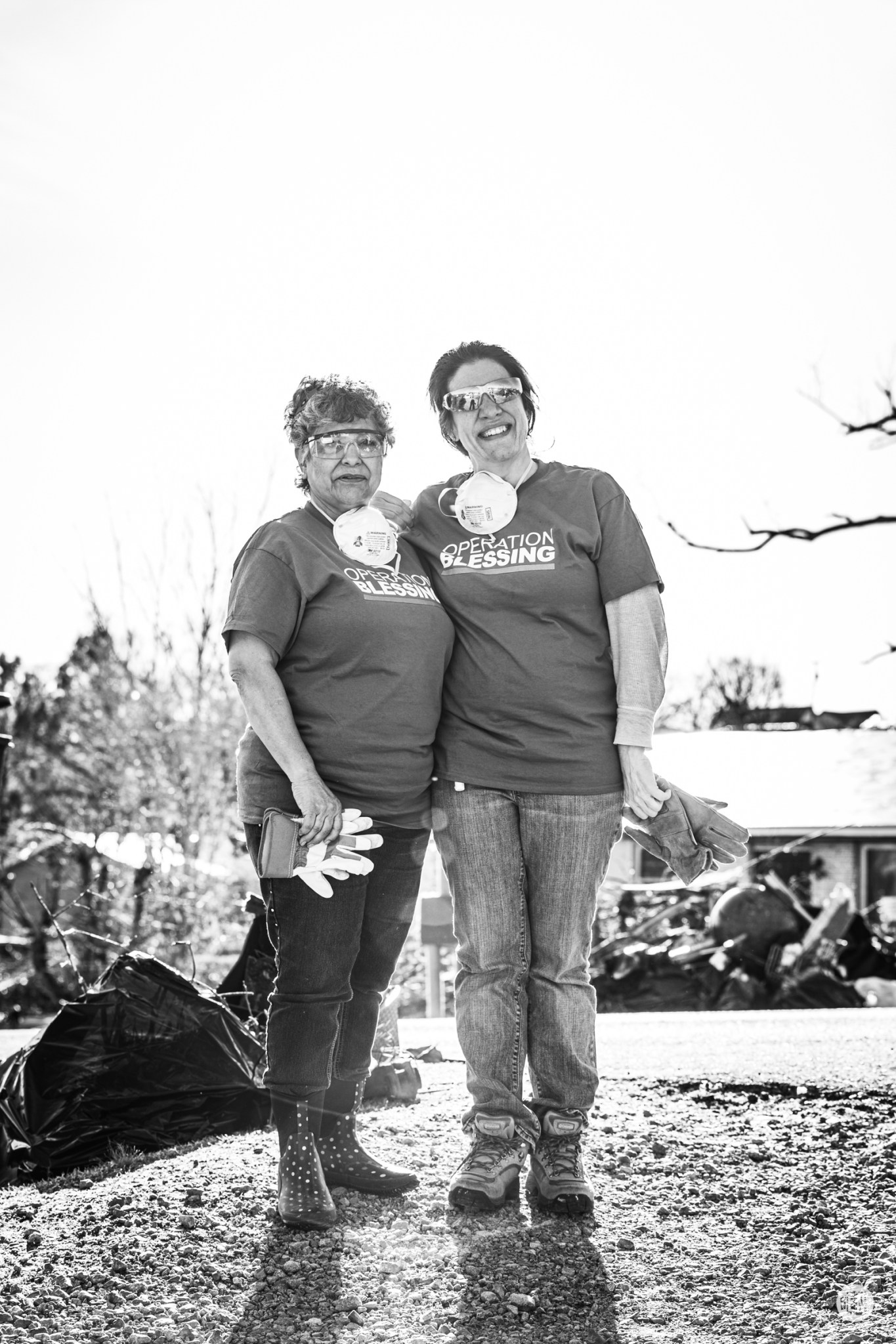 Martha Deshler and Jennifer Hatcher of Operation Blessing, from Hendersonville