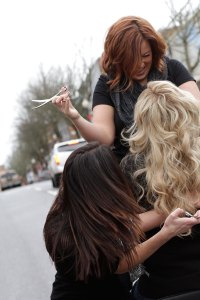 Photo shoot in the streets of downtown Roseburg Oregon Hair By Anna Darrow and Terry Savas Photo By Life Wide open.