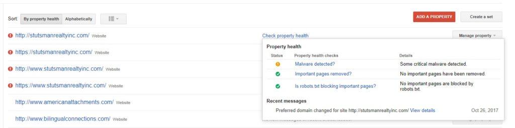 Google Search Console Message Portal