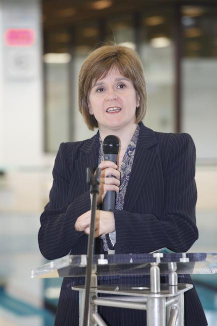 Nicola Sturgeon giving her speach