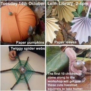 leith library autumn crafts squirrel