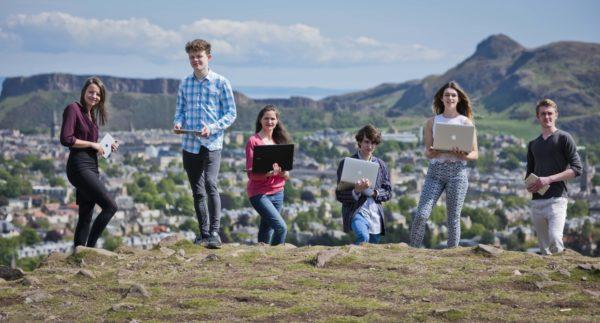 (Left to right) Vickie Henry, Sam Gregory, Bridgit Garvie, Joe Birchall, Rebecca Robertson, Adam Balfour at launch of CodeClan in Edinburgh (Photos by Chris Watt)
