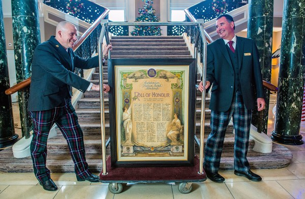 Pic: Concierge staff Karl Wendland and Malcolm Harkin who found the Roll of Honour hidden in a store room CONTACT: Elaine Howie PR Ltd  elaine@elainehowiepr.co.uk  +44 (0)7720 442 881  Marina Cruz marina.cruz@waldorfastoria.com  +44 (0)131 222 8704  Roll of Honour Takes Pride of Place   at Waldorf Astoria Edinburgh – The Caledonian  Edinburgh, United Kingdom – (26, November, 2015) – The Roll of Honour listing all those who served in the Great War and worked at the then Caledonian Station Hotel has been conserved and today was given pride of place within the Waldorf Astoria Edinburgh – The Caledonian.  The artwork lists 70 names and the search is now on to find friends and relatives of those named.    Dale MacPhee, General Manager of the luxury five-star hotel at Edinburgh's West End, said:  'Having found this wonderful piece of history, we would now love to find friends and relatives of those who are named.'  'The Roll of Honour is a lasting memorial to staff at 'The Caley' and we are delighted to be able to display it proudly in our Peacock Alley.  The Caley has been one of the most iconic buildings in the city since it was first opened and I am sure that staff named on our memorial was as proud to work here then as we all are today.'  'Our hotel has a well-documented history of welcoming Royalty, Prime Ministers and celebrities alongside international visitors to Edinburgh. This memorial allows us to write an additional chapter paying tribute to those who worked here. In fact, I do wonder if it is fate that we've found it now, 100 years on from the Great War and at a time when that is the focus of commemoration.'  'I am thrilled that we found this Roll of Honour and that we have been able to have it conserved with the help of War Memorials Trust and the Scottish Conservation Studio here in Edinburgh.  We can now share it with hotel guests visiting locals all year round and tell them the story behind it with pride.'
