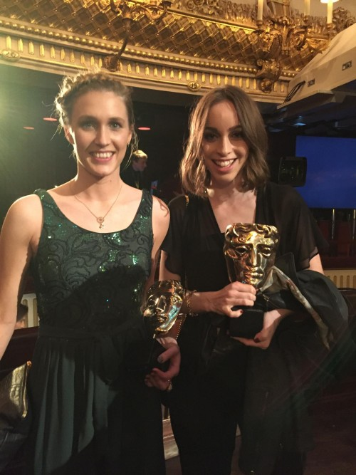 Rebecca Morgan and Caroline Bartleet producers of Operator which won British Short Film 2016 from BAFTA