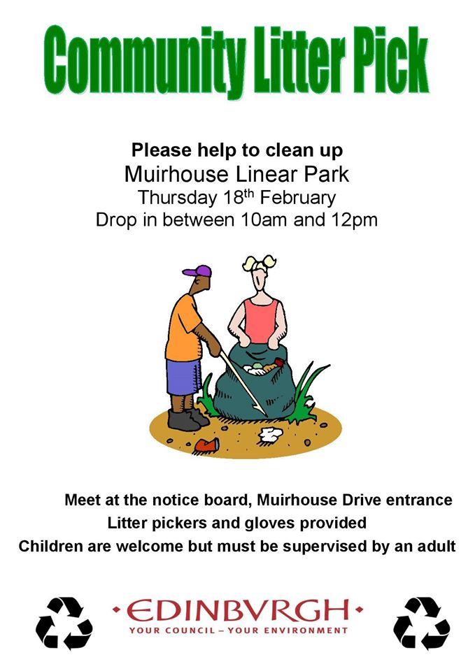 muirhouse community litter pick up feb 2016