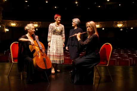 Minister Angela Constance MSP joins the chair of the RSNO Dame Susan Bruce DBE, principal flautist Katherine Brian and associate principal cellist Betsy Taylor at the King's Theatre Edinburgh