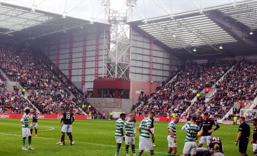 Hearts playing Celtic at Tynecastle Park