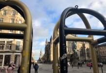 High Street Edinburgh looking through the security barriers