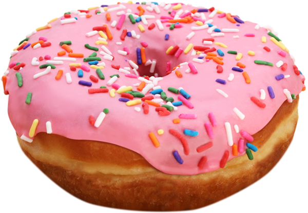 A large donut covered in icing sugar