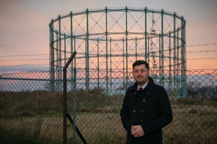 Councillor Cammy Day in front of Granton Gasholder