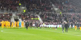 Hearts against Livingston in the Ladbrokes Premiership at Tynecastle on 6th February 2019
