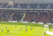 Hampden Park where Hearts defeated Inverness Caledonian Thistle in the Scottish Cup semi-final on 13th April 2019