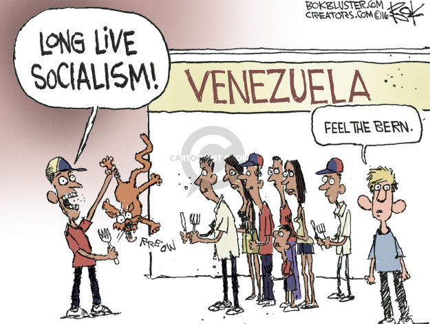 Typical anti-socialism cartoon, misrepresenting the facts