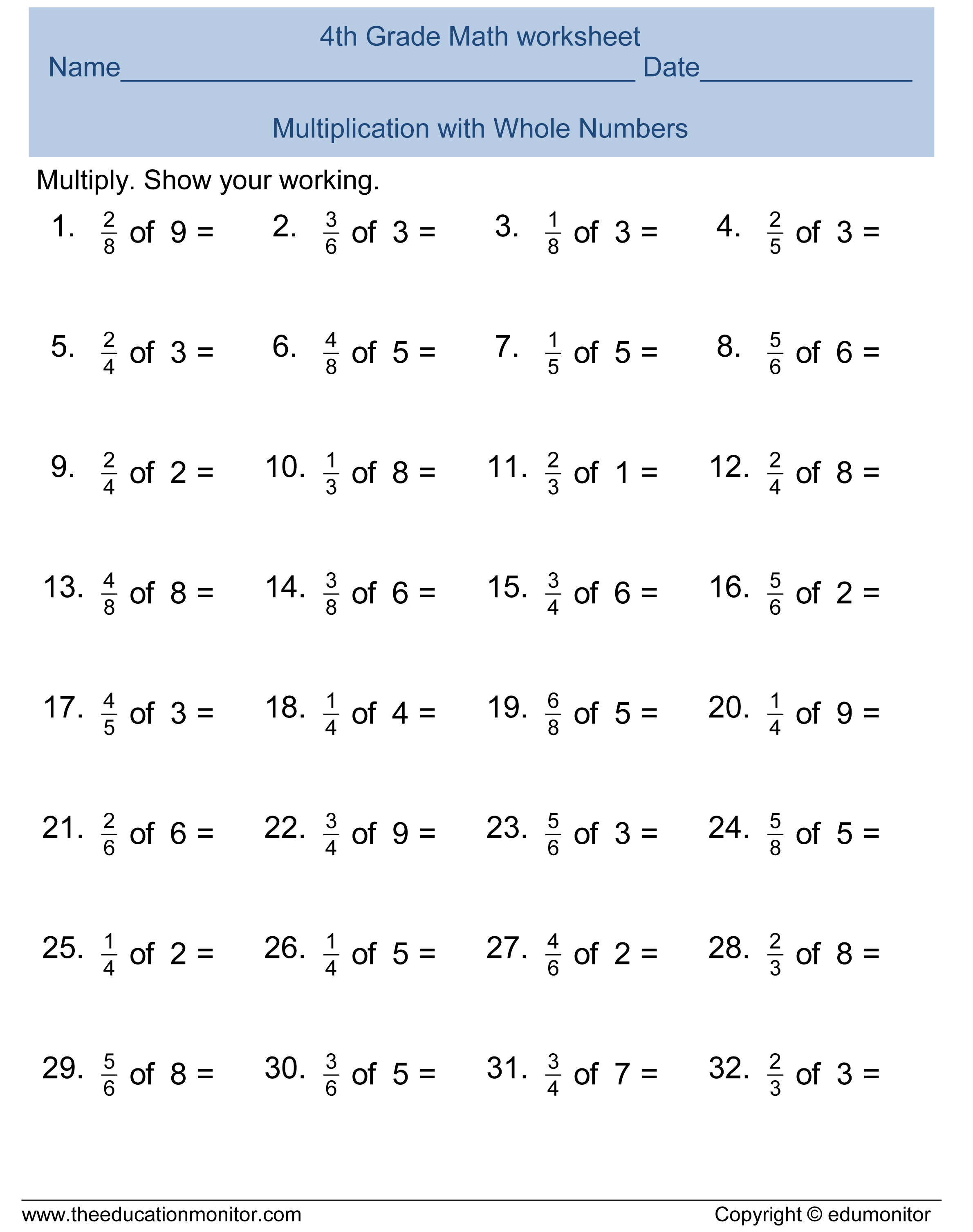 Free 4th Grade Fractions Math Worksheets And Printables